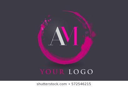 Am Circular Letter Brush Logo Pink Brush With Splash Concept