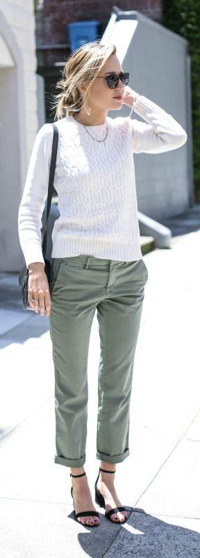 green cropped chinos, ivory sweater, black ankle strap sandals, black saddle bag, sunglasses + messy bun hairstyle {banana republic, steve madden, wonderland}