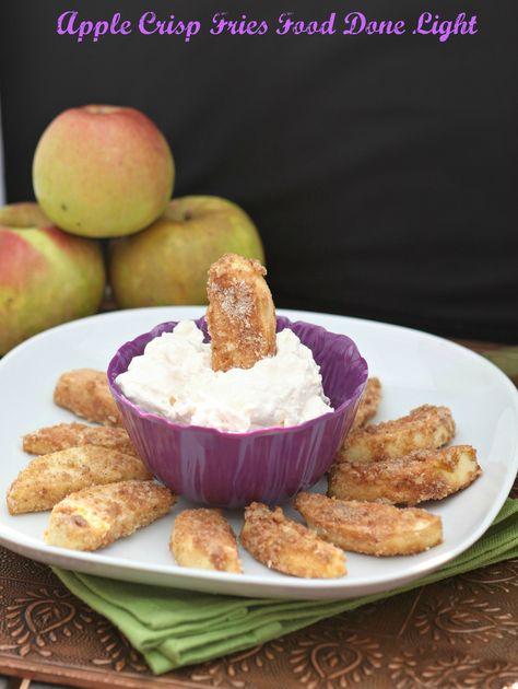 Apple Crisp Fries www.fooddonelight.com #applerecipe #appledessert #appledip #creamcheesedip #healthydessert