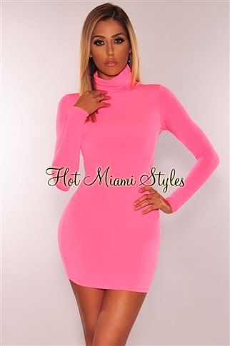 47a1558c584 Neon Pink Turtleneck Long Sleeves Dress in 2019 | Hollywood looks ...