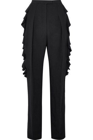 Antonio Berardi بنطلون أسود مزين بالكشكش من Antonio Berardi Tapered Pants Pants