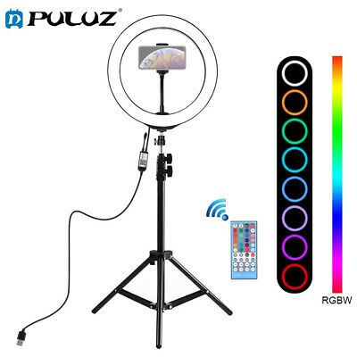 10 Inch 26cm Rgbw Led Ring Video Light With Remote Control Stand And Phone Clamp Ebay Led Ring Led Ring Light Selfie Ring Light