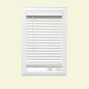 Home Decorators Collection White Cordless Room Darkening 2 In Faux Wood Blind For Window 21 In W X 48 In L 10793478352043 The Home Depot Faux Wood Blinds White Faux Wood Blinds Home Decorators Collection
