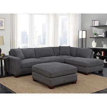 Huntley 3 Piece Fabric Set Charcoal Gray Sectional Living Room
