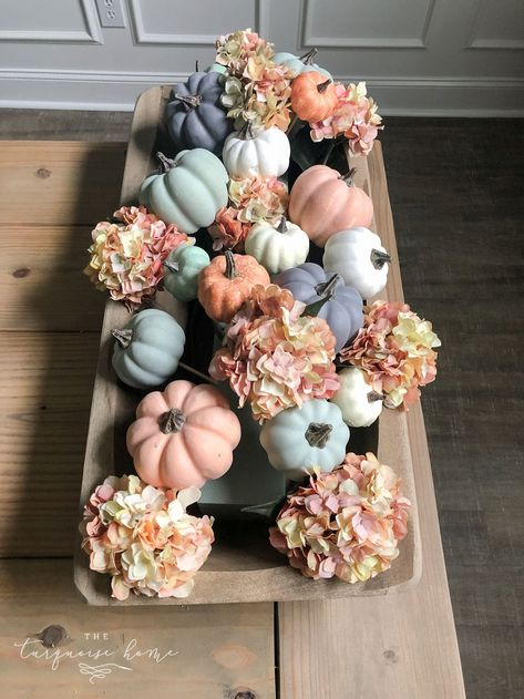 diy fall decor This fall centerpiece is so fun to make with any type of dough bowl or tray you already have in your home. Its easy to add faux pumpkins and faux stems (or real!) with thi Fall Home Decor, Autumn Home, Blue Fall Decor, Thanksgiving Decorations, Seasonal Decor, Autumn Decorations, House Decorations, Thanksgiving Table, Holiday Decor