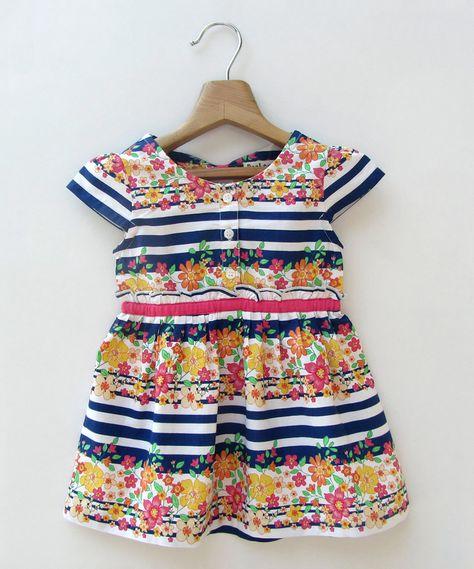 Beebay White & Blue Stripe Floral Dress - Infant, Toddler & Girls   zulily