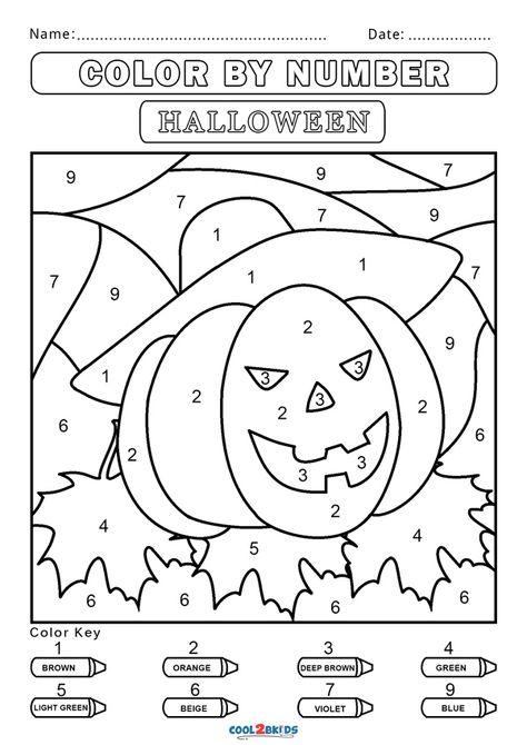 Pumpkin Coloring Pages, Tree Coloring Page, Fall Coloring Pages, Coloring For Kids, Free Coloring, Preschool Number Worksheets, Numbers Preschool, Preschool Printables, Kindergarten Colors