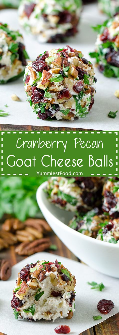 CRANBERRY PECAN GOAT CHEESE BALLS - Quick, easy and totally delicious festive holiday appetizer. Perfect for Christmas, New Year's Eve or any Holiday events! #christmas #christmasrecipes #easyrecipes #easy #recipe #appetizers #appetizerrecipes #cheeseballsrecipe #cheese #balls #cheeseballs