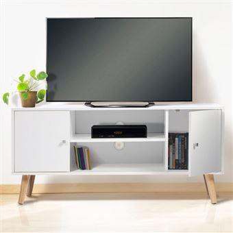 Meuble Tv Effie Scandinave 2 Portes Bois Blanc Meuble Tv Achat Prix Meuble Tv Meuble De Television Meuble Tv Blanc
