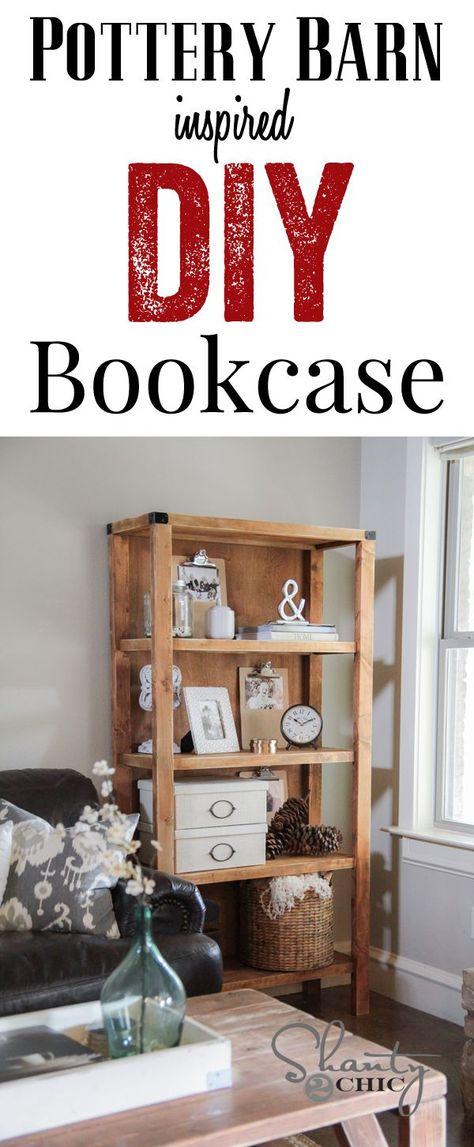 DIY Pottery Barn Inspired Bookcase - Shanty 2 Chic