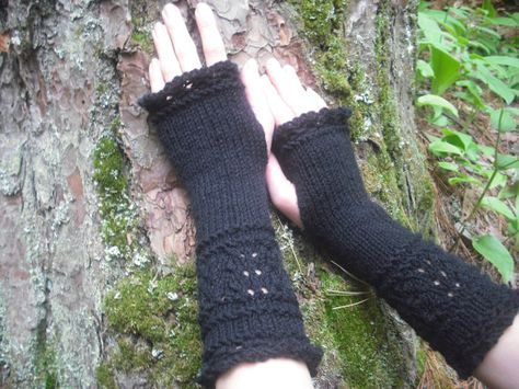Fingerless Gloves, Black Fingerless Gloves, Wrist Warmers, Knit Fingerless Gloves, Lace Fingerless G