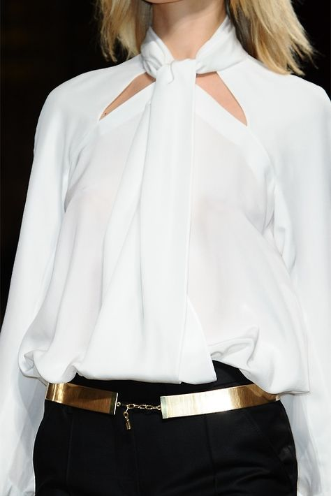 great dressy blouse with fab gold belt and pencil skirt or beautiful