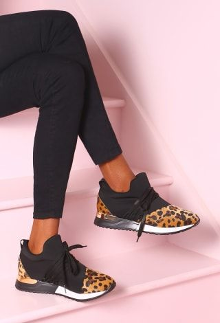 So Luxe Black Leopard Print Trainers