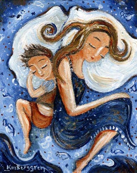 Mother And Son Sleeping In Blue Bed Gift For Mother Gift For Mom From Son Mother Painting Mother Art Art
