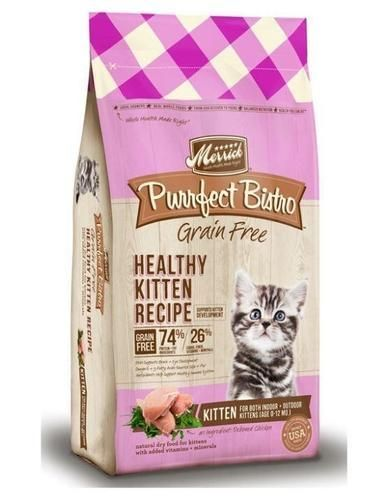 Cat Food Recipe Grain Free Dry Kitten Food For Kittens To 12 Months Old 4 Pound Bag Merrick Purrfect Bistro Grain Dry Cat Food Grain Free Diet Cat Food Reviews