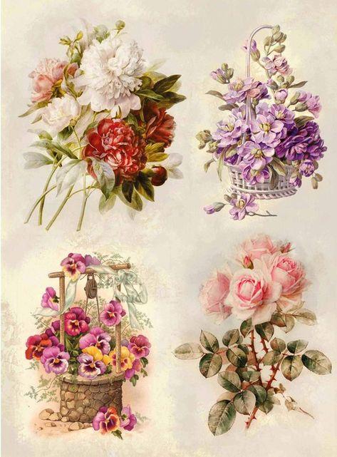Decoupage paper Floral flowers rose print scrapbooking paper