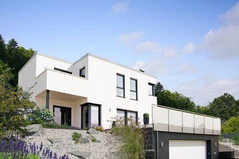 Fingerhut Haus Flachdach Bauhausstil Hangbebauung Fertighaus - geometrische formen farben modernes haus