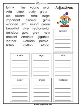 Sorting Adjectives- Adjectives describe a noun in many different ...
