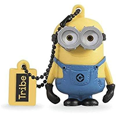 Tribe Minions Despicable Me Bob 16 GB Funny USB Flash Drive 2.0 Yellow Gift Idea 3D Figure PVC USB Gadget with Keyholder Key Ring