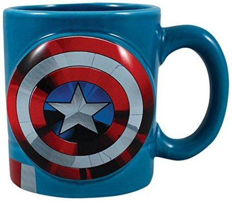 Vandor Marvel Captain America Shaped Ceramic Soup Coffee Mug Cup, 20 Ounce - Blue