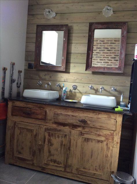 Salle de bain rétro vintage miroirs métal, meuble ancien ...