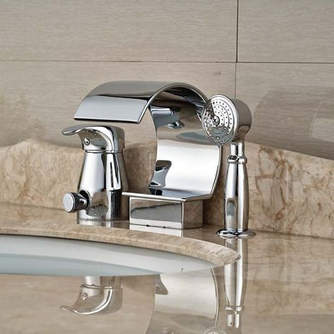 Chrome Polished Brass Waterfall Spout Bathroom Sink Faucet Pull Out