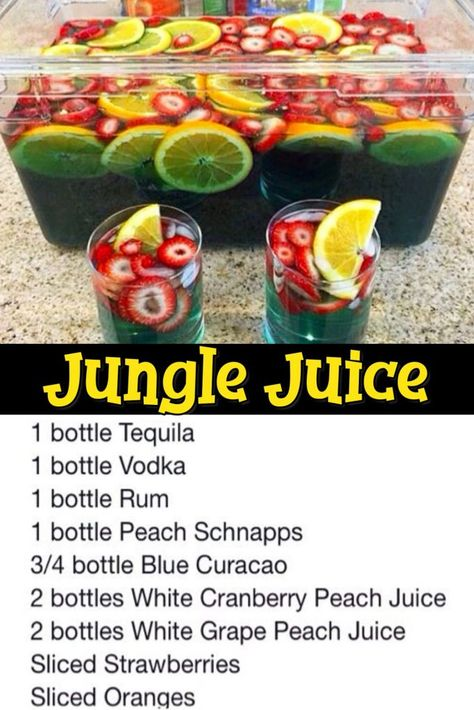 11 Easy Punch Recipes For a Crowd – Simple Party Drinks Ideas (both NonAlcoholic and With Alcohol) – Clever DIY Ideas Jungle Juice Punch Recipe. Jungle Juice Punch Recipe, Punch Recipe For A Crowd, Easy Punch Recipes, Food For A Crowd, Fruit Punch, Jungle Juice Recipes, Adult Punch Recipes, Easy Jungle Juice, Recipes For A Crowd