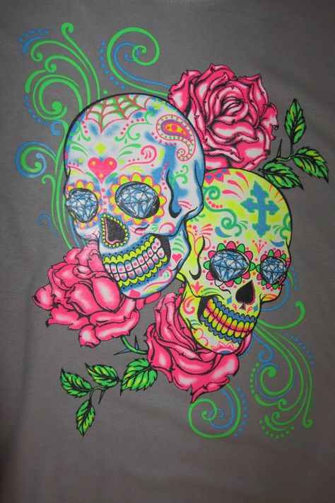 Sugar Skulls and Roses vivid neon colors look amazing under black lights. Lot's of detail in this Day of the Dead image. - 5.3 oz - preshrunk 100% heavy duty cotton tees - Screen Printed Image - Unisex sizes - T-shirt Size Chart - Available in Black, Grey and White - Ships in 1 to 2 working days
