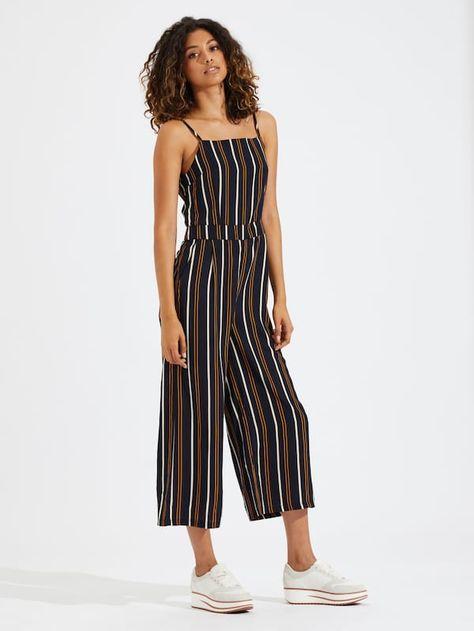 Vertical Stripe Straight Leg Cami Jumpsuit -SheIn(Sheinside)