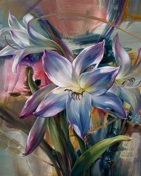 Peinture Par Numero Bouquet De Lys Bleus Peinture Lys Croix