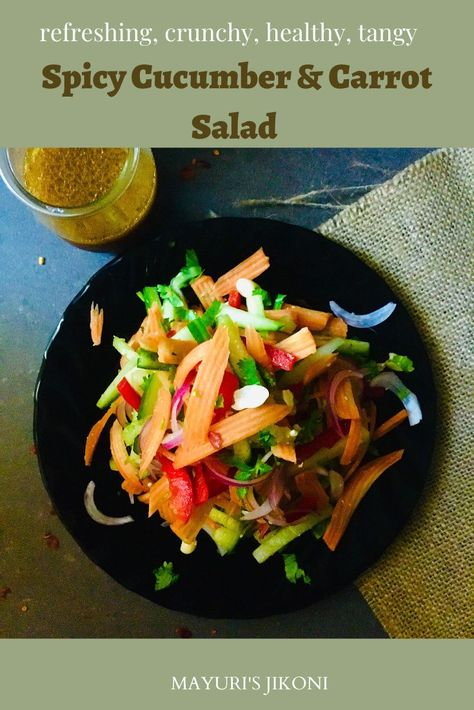 Spicy Cucumber Carrot Salad is a healthy, slightly spicy and refreshing salad to enjoy as a starter, a light meal or as a side dish. The Tamarind Dressing is adds different flavors to the salad. #salad #tamarinddressing #carrot #cucumber #peanuts #homemadedressing #glutenfree #healthy