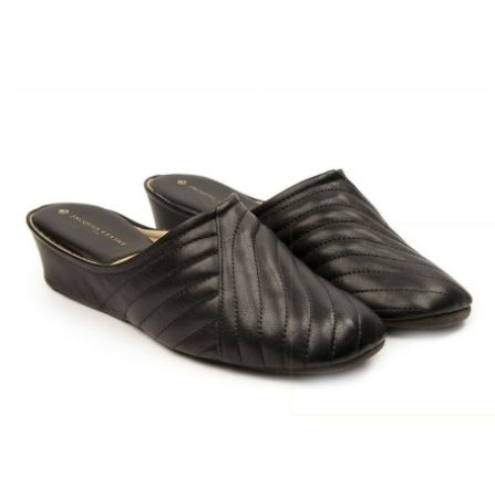38e66ecdc8a Jacques Levine Indoor Classic Black Pleated Slipper Signature comfort and  style from Jacques Levine. These slippers are pleasantly pleated for a  classic ...