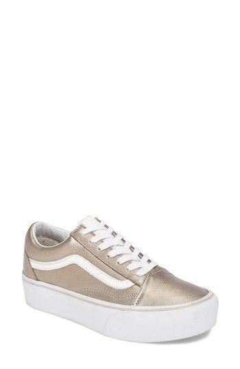 Old Skool Platform Sneaker In Gray Gold True White