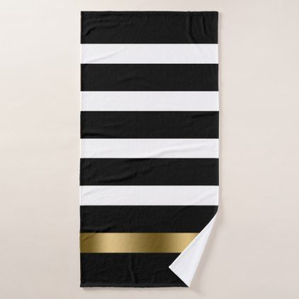 Black And White Stripes Pattern Gold Accents Bath Towel Set