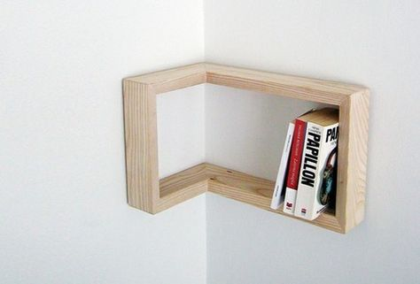 Sometimes the simplest corner solutions are the best. This is a custom order piece from Martina Carpelan. But you could easily make it yourself.