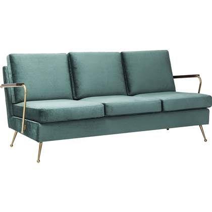 3 Zits Design Bank.Kare Design Bank Sofa Gamble 3 Zits Fluweel Stof Blauw Retro
