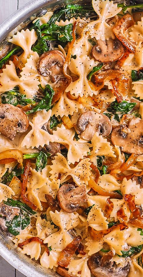 Creamy Bow Tie Pasta with Mushrooms, Spinach, Caramelized Onions
