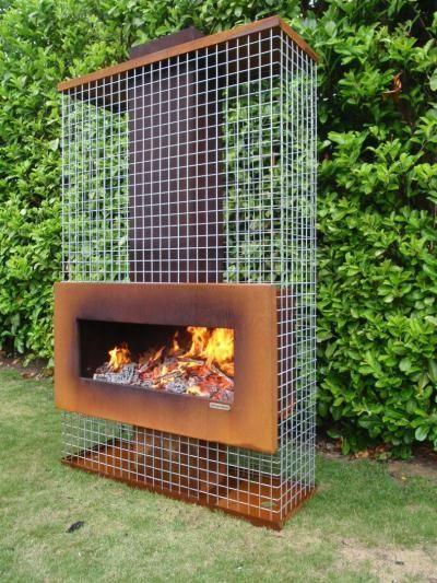 Horno con parrilla terrassenkamin pebetero fuego cesta jardín chimenea chimenea
