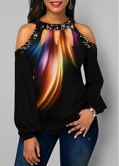 plus size ladies cold should sequinned trim t-shirt top blouse shirt size 20