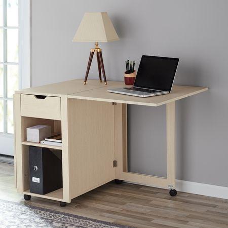 Mainstays Adjustable Rolling Office Desk With Shelves Birch Finish Walmart Com Desk Shelves Office Desk Narrow Desk