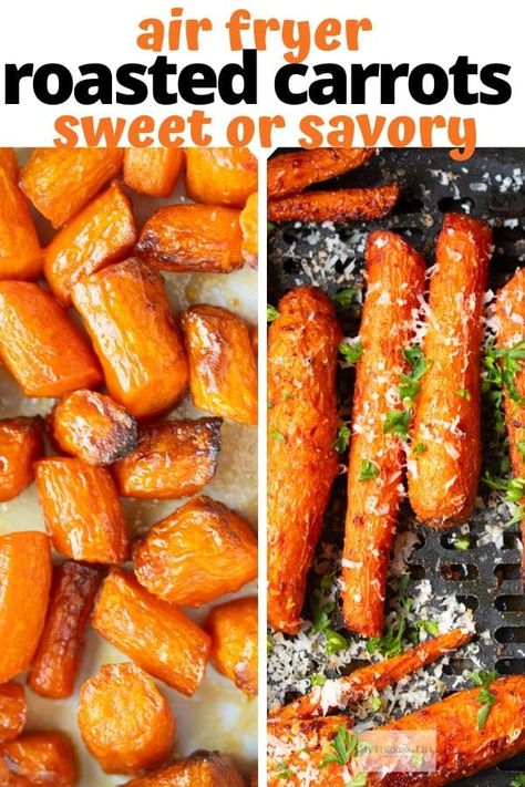 Air Fryer Carrots (Sweet or Savory) Air Fryer Roasted Carrots made two different ways. Whether you like sweet or savory carrots, this recipe has you covered. Make them in the air fryer in less time than a traditional oven. Air Fryer Recipes Vegetarian, Air Fryer Oven Recipes, Air Fryer Dinner Recipes, Cooking Recipes, Healthy Recipes, Air Fryer Rotisserie Recipes, Air Fried Vegetable Recipes, Oven Fryer, Easy Recipes
