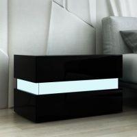 Bedside Table 2-Drawer Side Nightstand High Gloss Modern ...