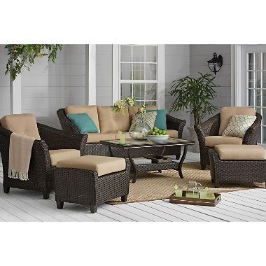 Member S Mark Agio Toronto 6 Piece Patio Deep Seating Set With Sunbrella Fabric Sam S Club Deep Seating Elegant Outdoor Furniture Chair And Ottoman Set