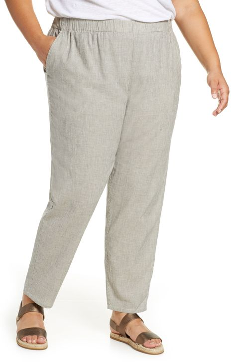Eileen Fisher Tapered Stripe Organic Cotton Blend Pants Plus Size Eileen Fisher Fashion Clothes For Women