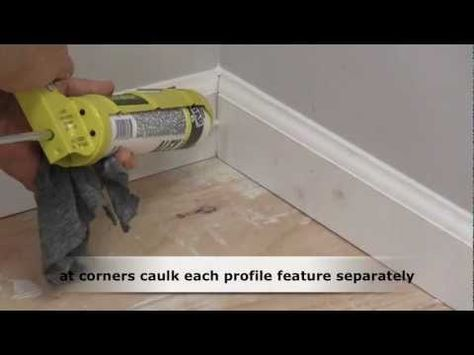 Demonstration how to caulk wood trim molding before painting. Check http://www.do-it-yourself-help.com/caulking_techniques.html for more.
