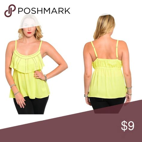 bf3248b6a25 ⭐ PLUS SIZE SHIRT ⭐ Studded bright yellow shirt. Tops Blouses ...