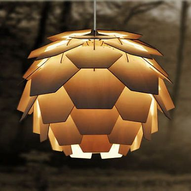 Poul Henningsen Style Artichoke Ceiling Pendant Shade in Layered Wood |    | Pinterest | Ceiling pendant, Artichokes and Ceilings