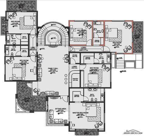مخطط الفيلا رقم التصميم N2 من مبادرة بيتى 800 متر مربع Arab Arch Narrow House Plans House Layout Plans Luxury House Plans
