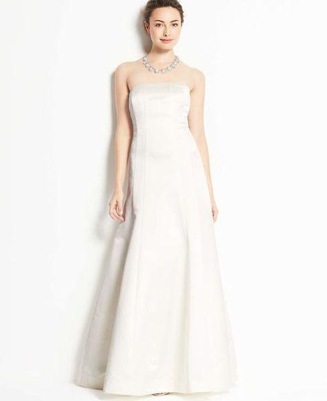 Ann Taylor Duchess Satin Strapless Wedding Dress Bridal Ivory