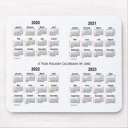 2020 2023 White 52 Weeks 4 Year Calendar By Janz Mouse Pad